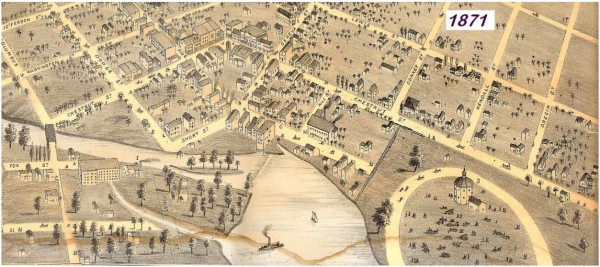 A 1871 map of the Fair Grounds in Burlington Wisconsin