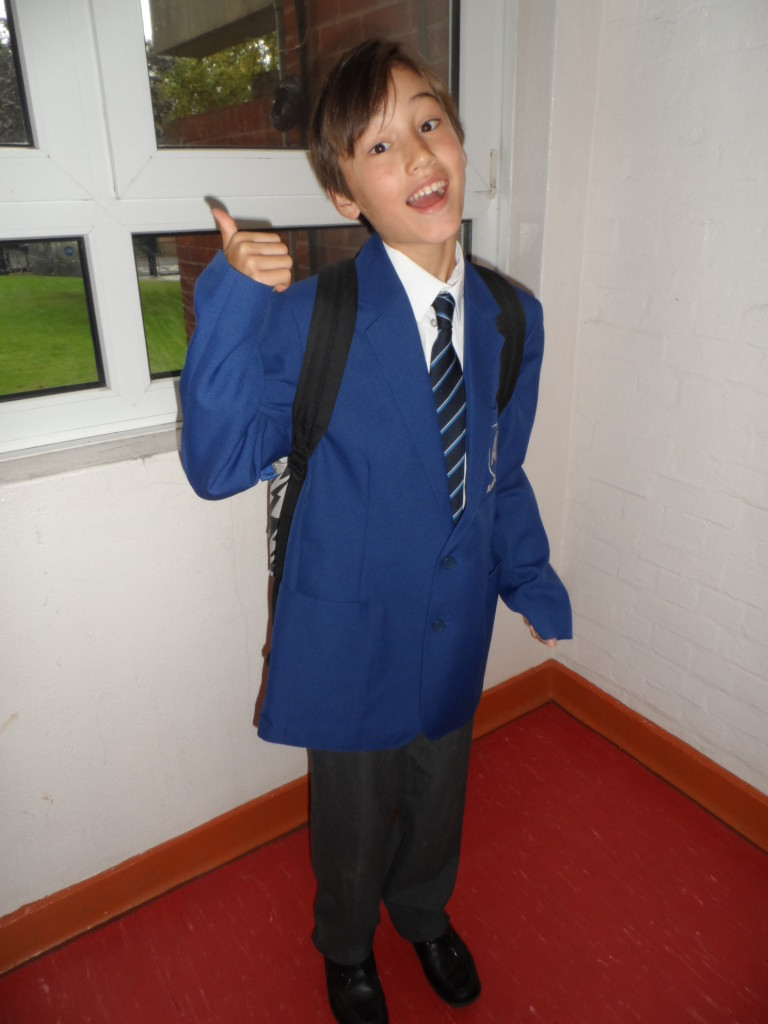 Charlie ready for first day in secondary school